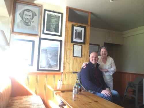 Mark with Eileen Percival who runs The South Pole Inn