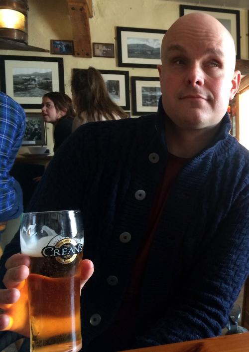 Mark holding Tom Crean Beer Glass