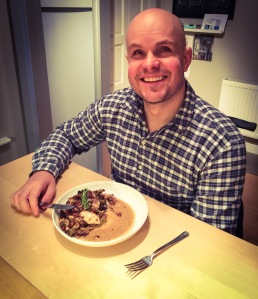 Mark at home with healthy meal